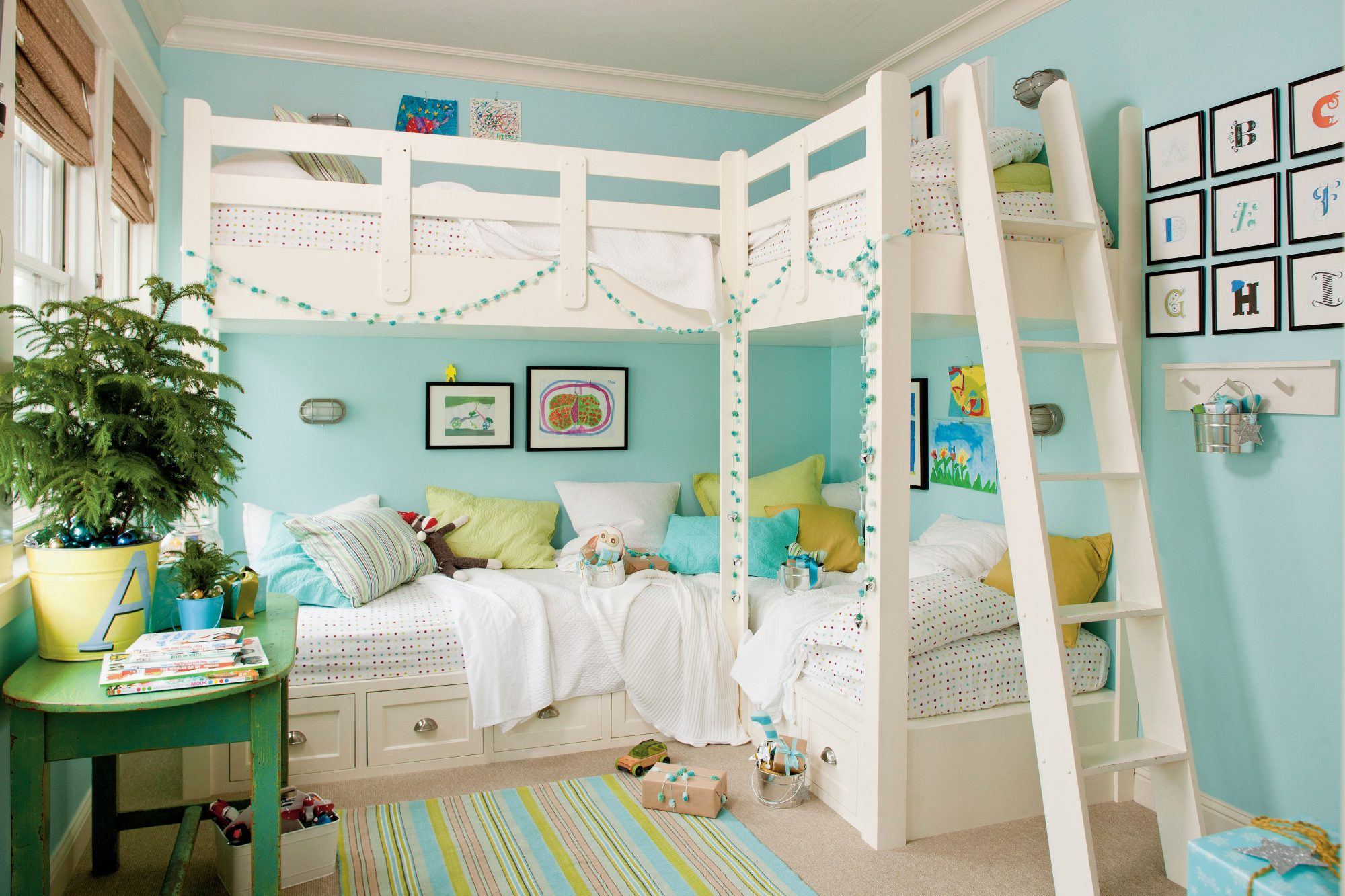 Aqua Bunk Bed Kids Room