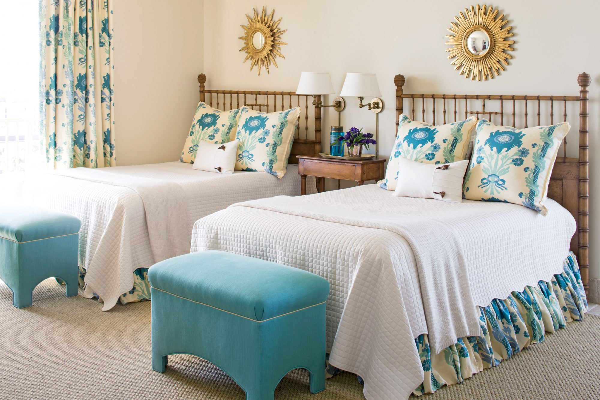 Relaxed Elegance Cream And Turquoise Twin Bedroom