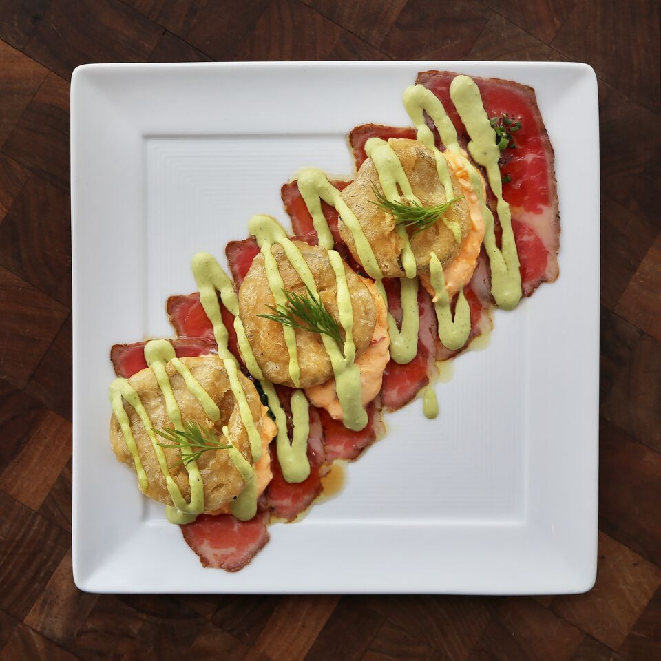 Beef Carpaccio with Fried Pickes and Pimiento Cheese