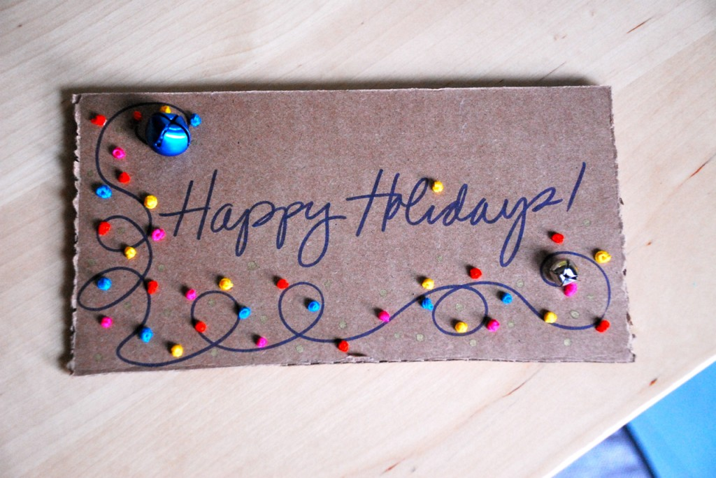Stitched Christmas Lights Card