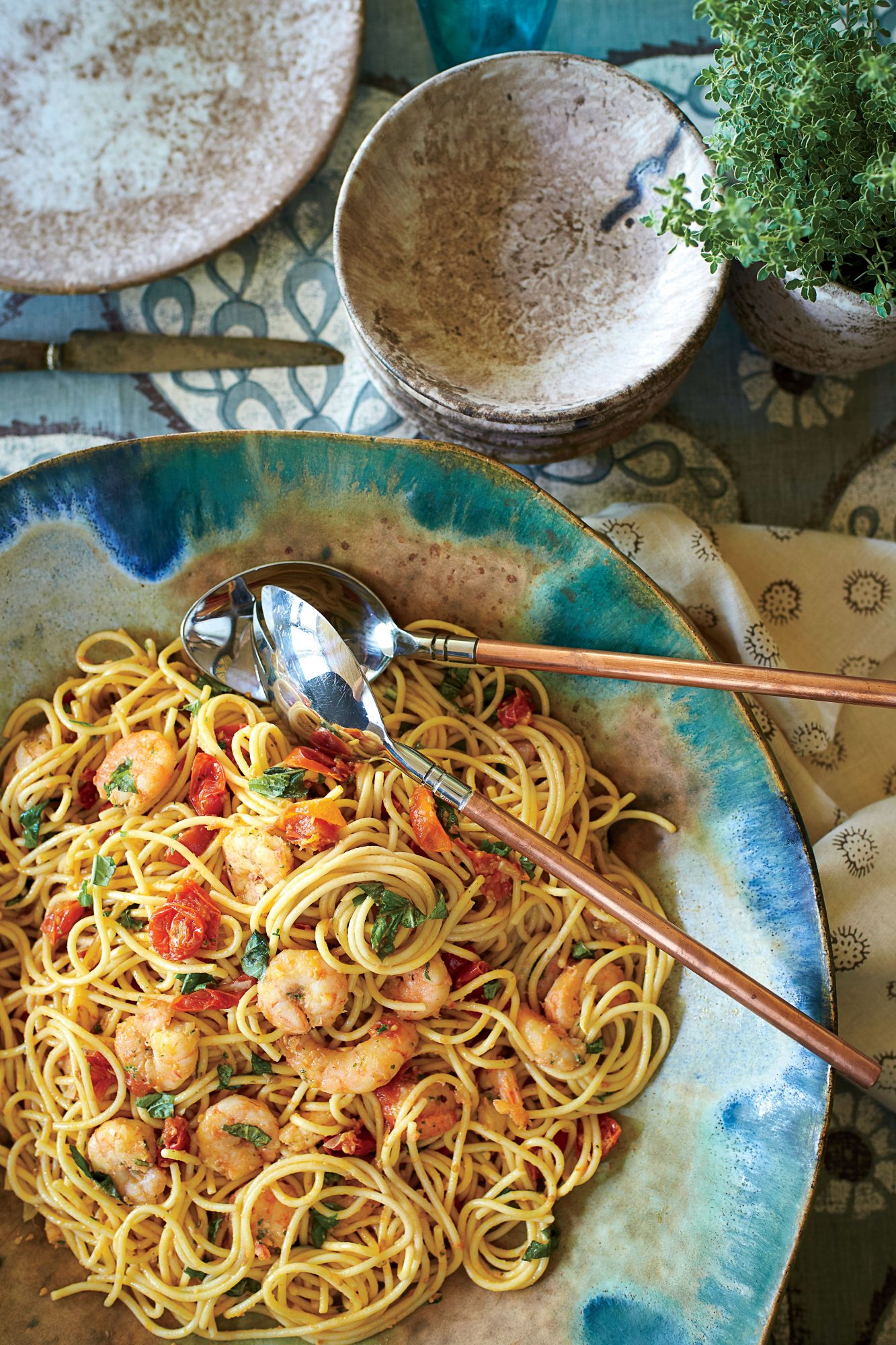 Spaghetti with Shrimp and Roasted Cherry Tomatoes