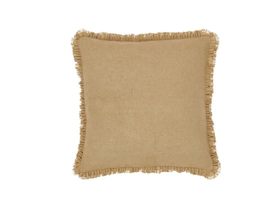 Andrade Burlap Natural Fringed Cotton Throw Pillow