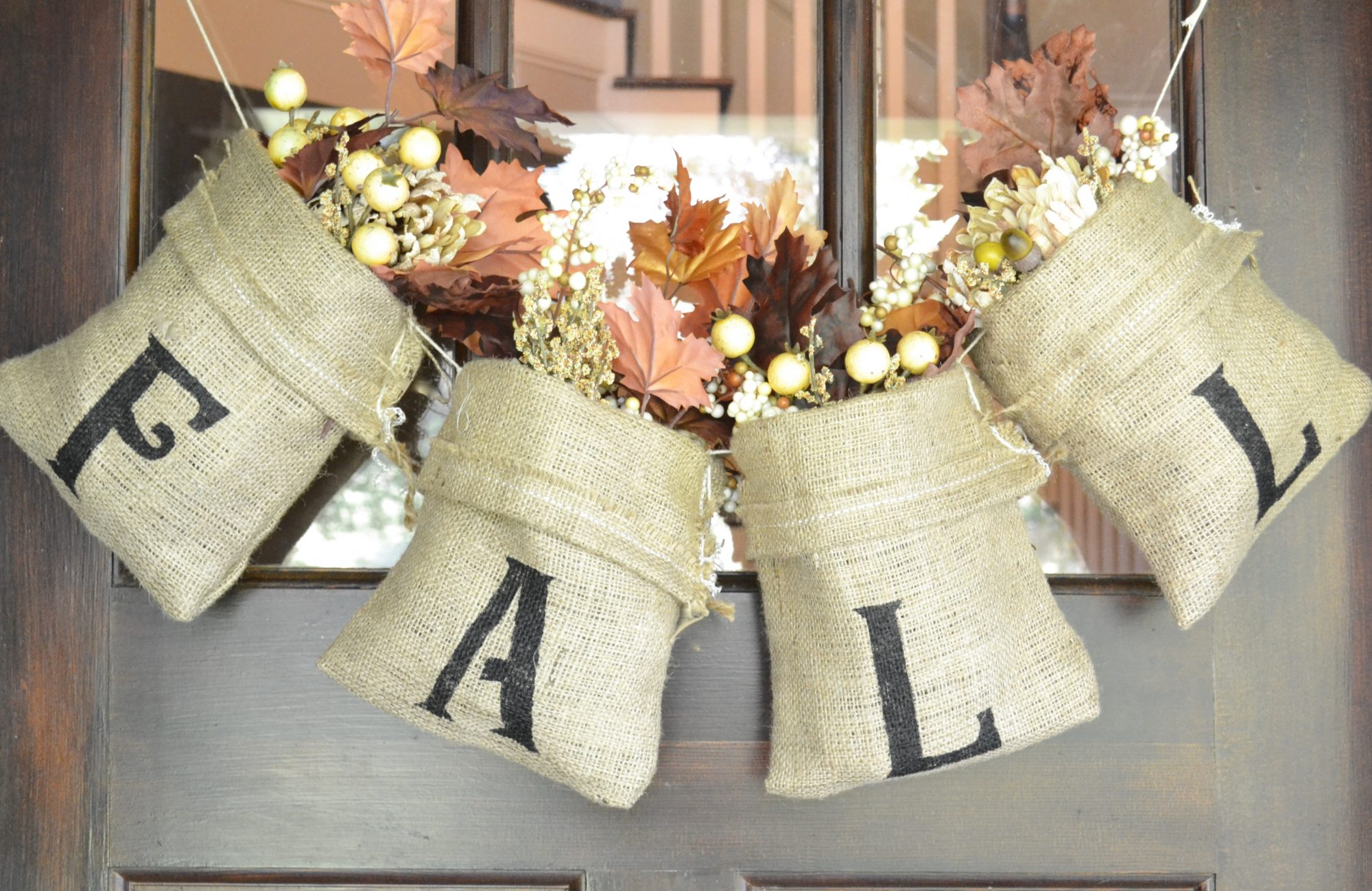 Fall burlap bag door decor southern living Burlap bag decorating ideas