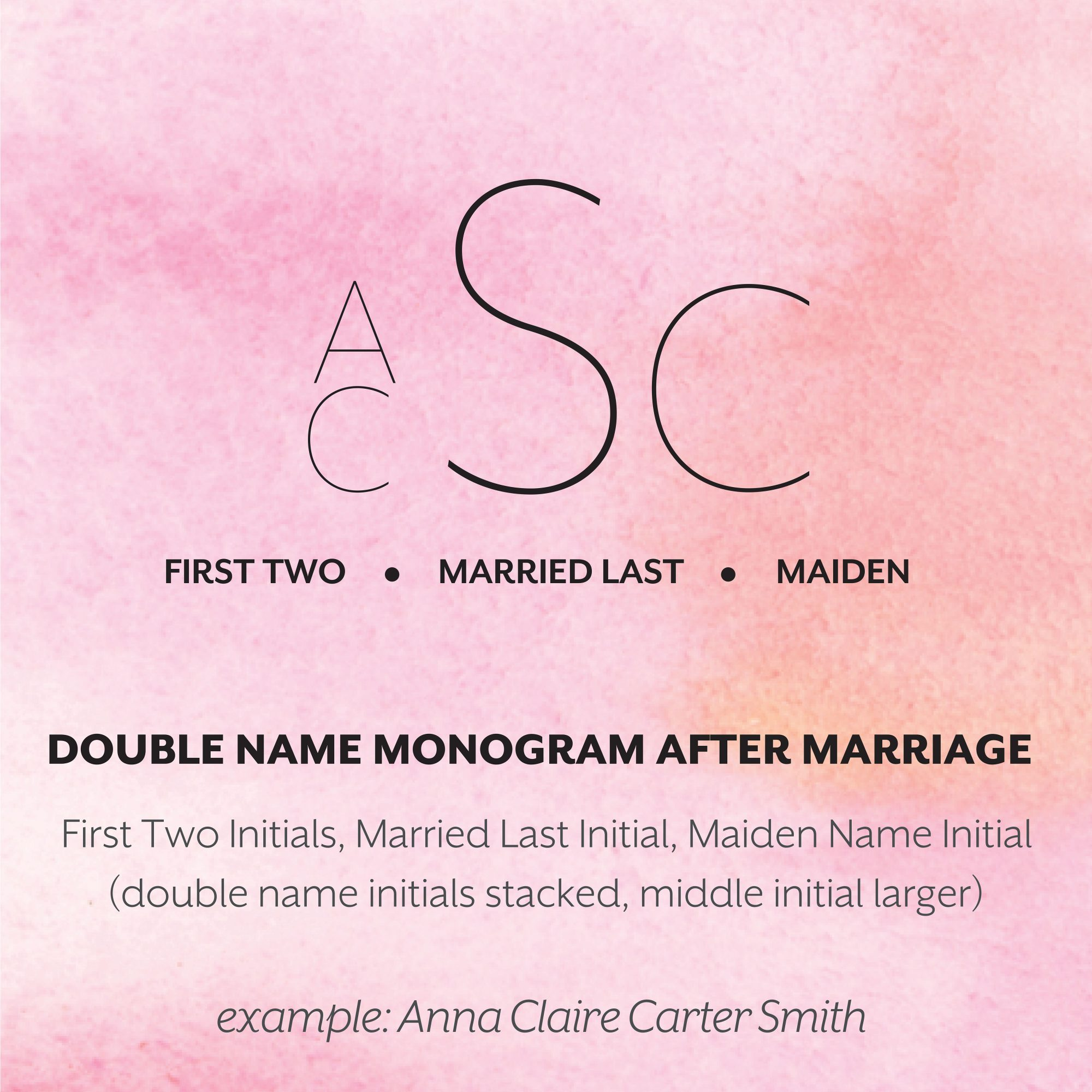 Married Double First Name Monogram Format