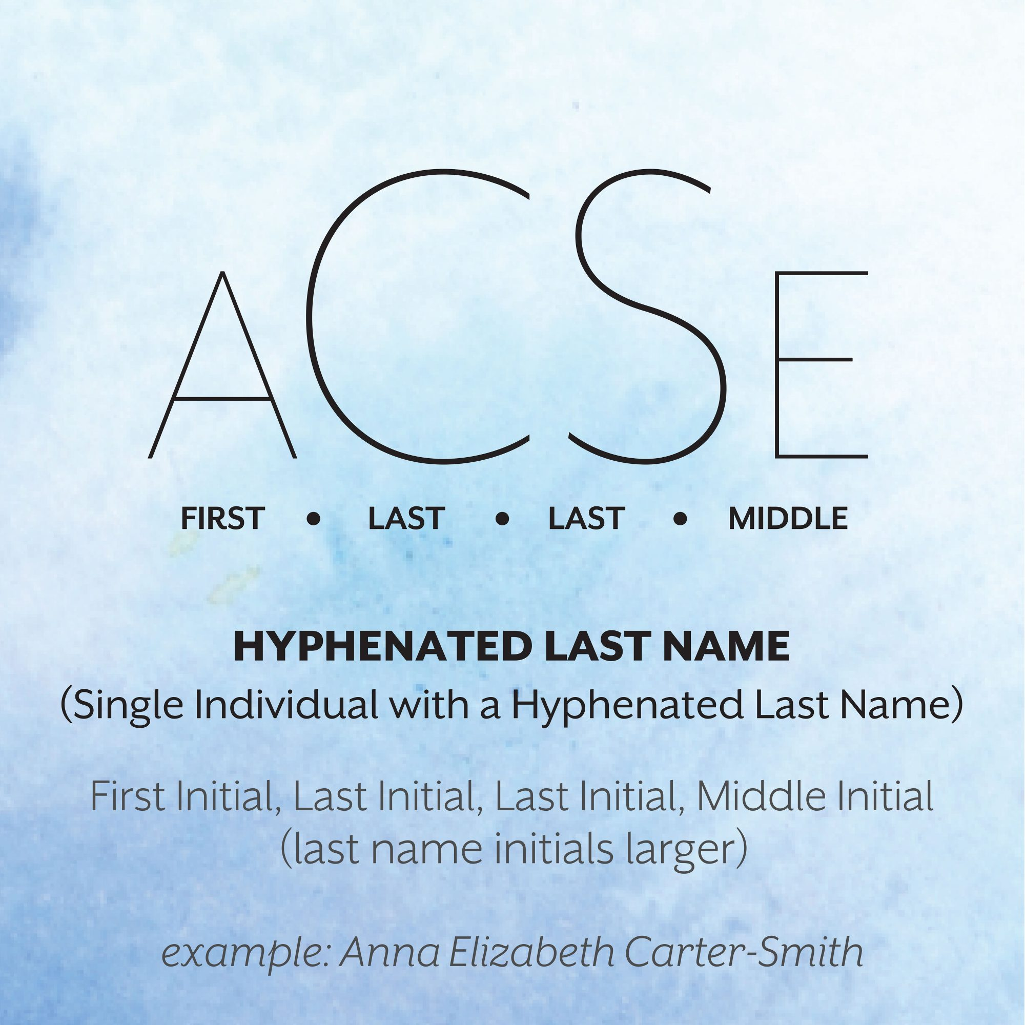 Hyphenated Last Name Monogram Format