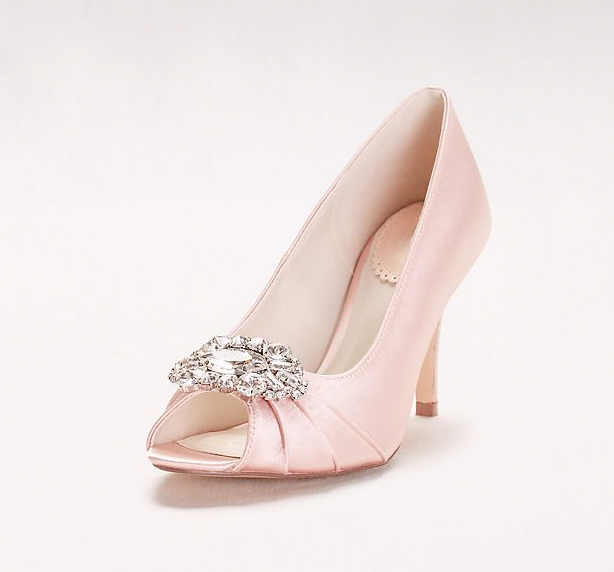 Blush Satin Peep Toe Heels