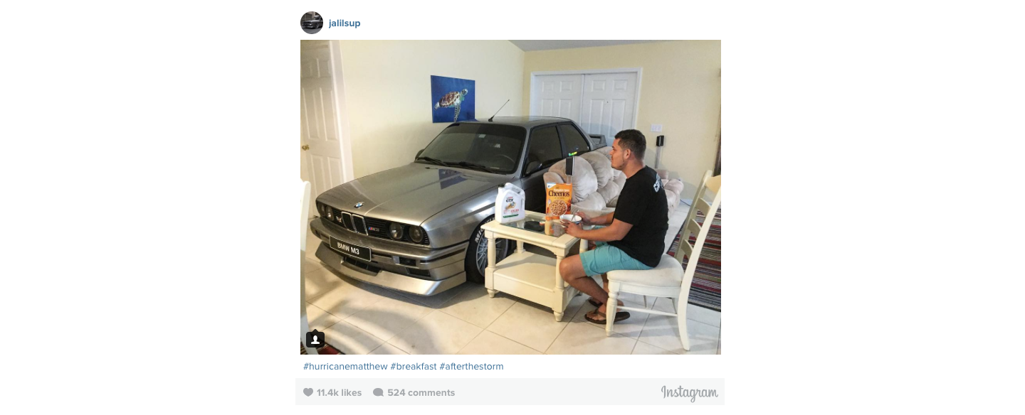 BMW Car in Living Room During Hurricane