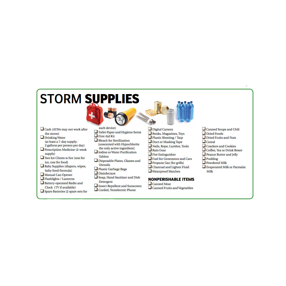 Storm Supplies Checklist