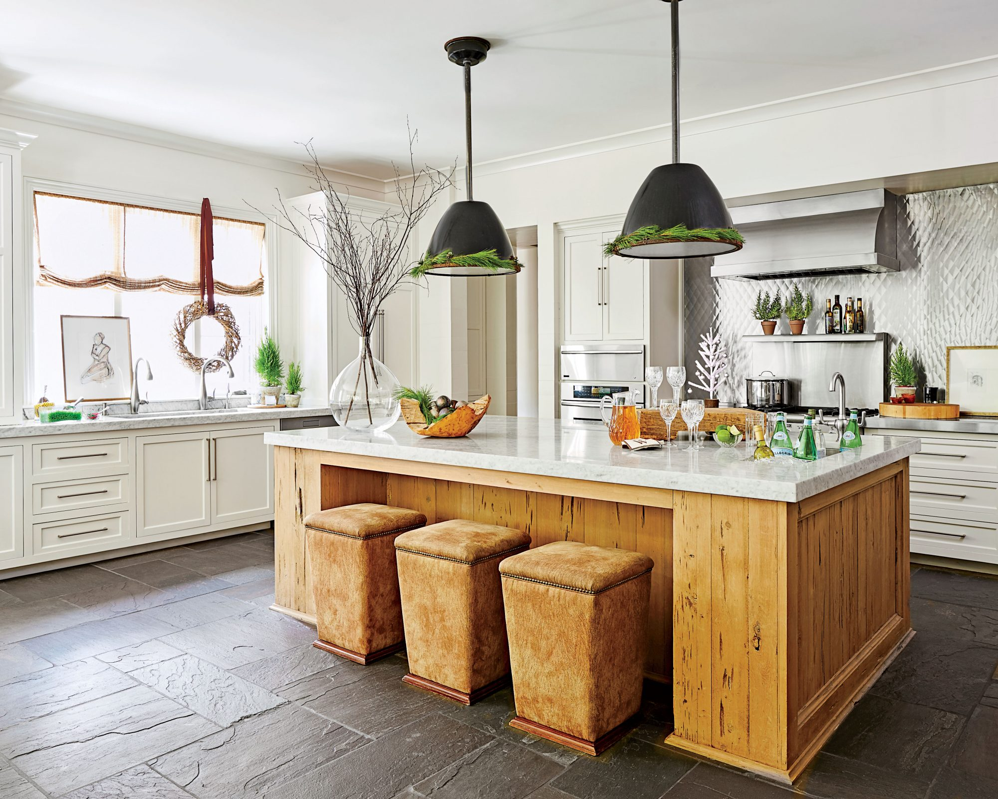 Large White Kitchen with Island