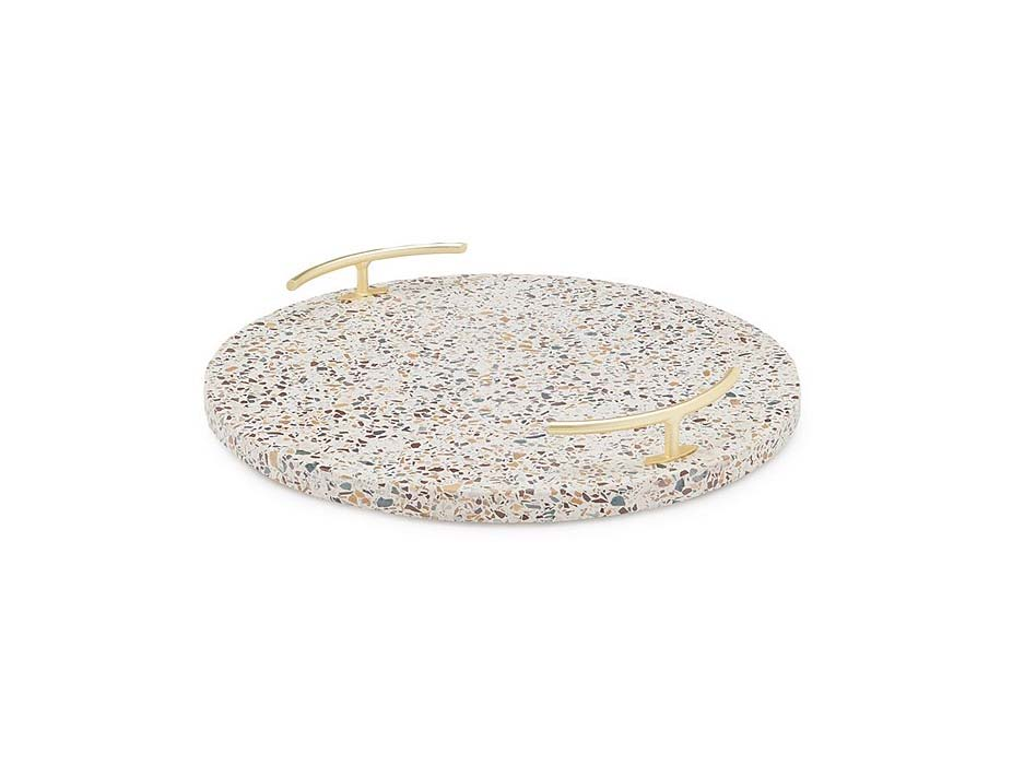Southern Living Terrazzo Beige Marble Round Serve Board with Handles