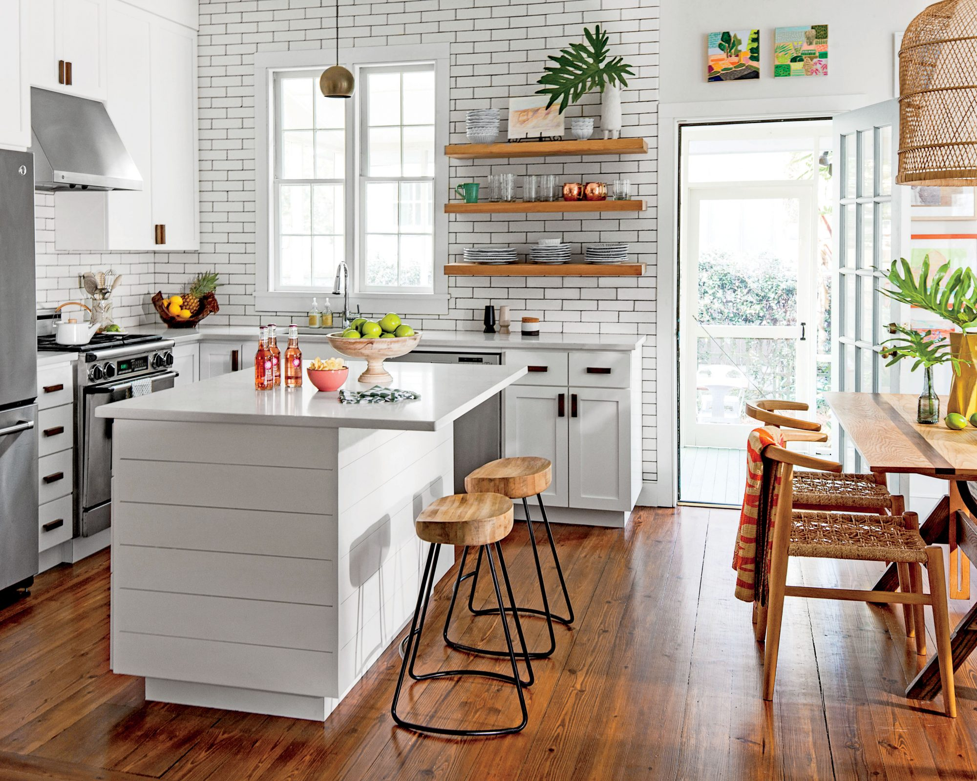 Tiny Kitchen Island with Shiplap Siding