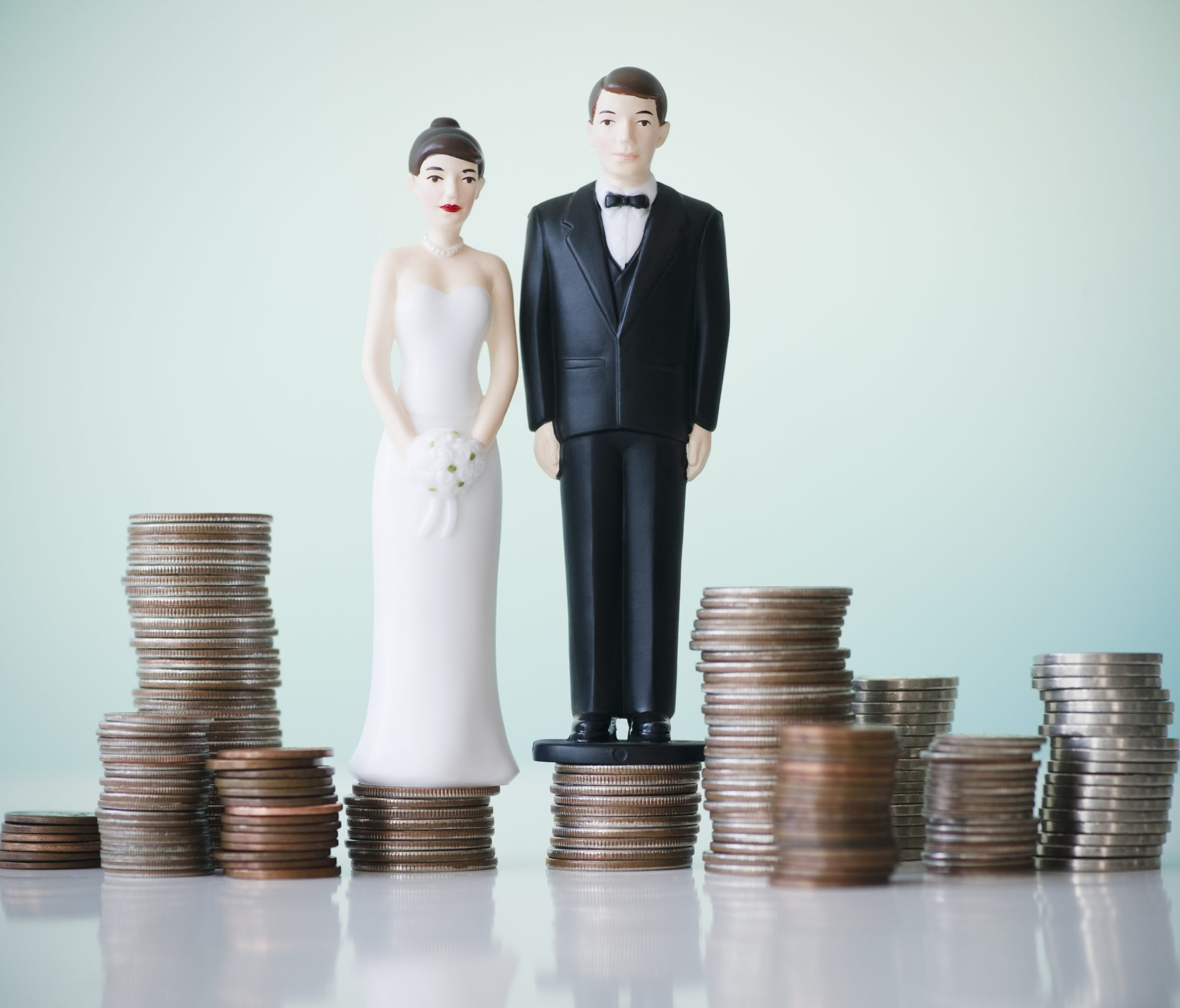 Wedding Cake Topper Standing on Money
