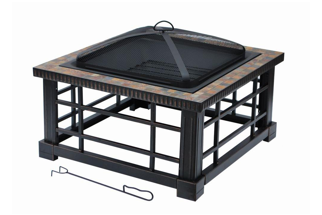 RX_1611_Grandfather_Woodspire 30 inch Square Slate Steel Fire Pit