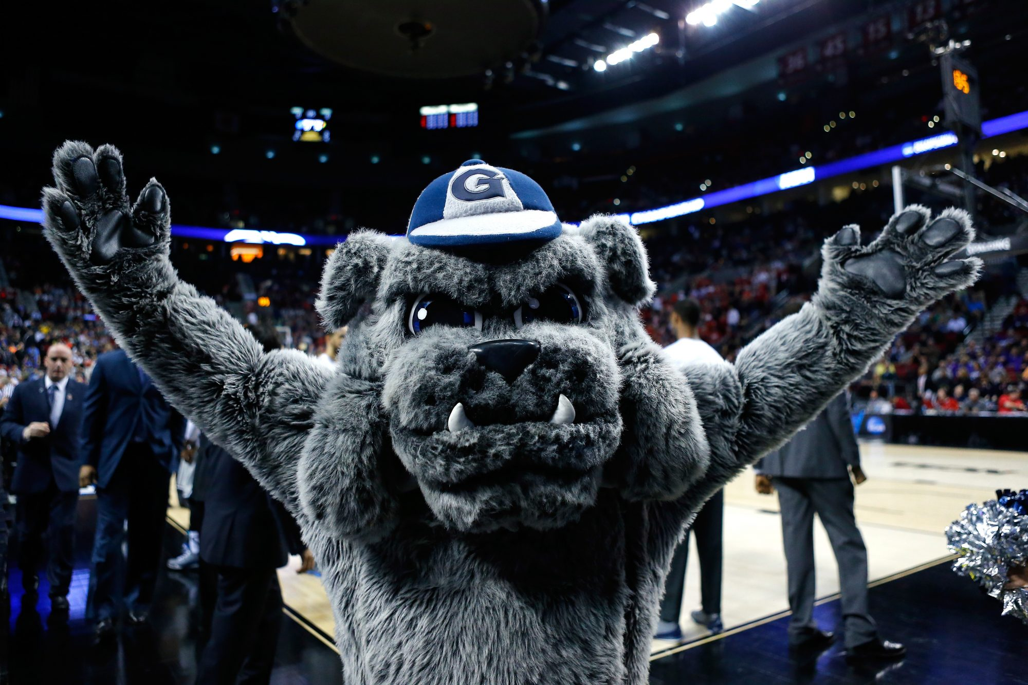 The Georgetown Hoyas mascot looks on before the game against the Eastern Washington Eagles during the second round of the 2015 NCAA Men's Basketball Tournament at Moda Center on March 19, 2015 in Portland, Oregon.