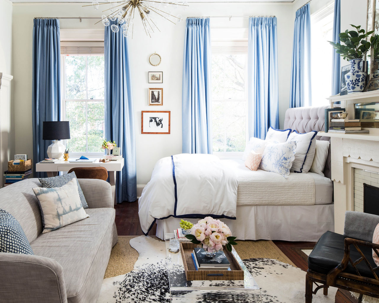 Blue and White Studio Apartment