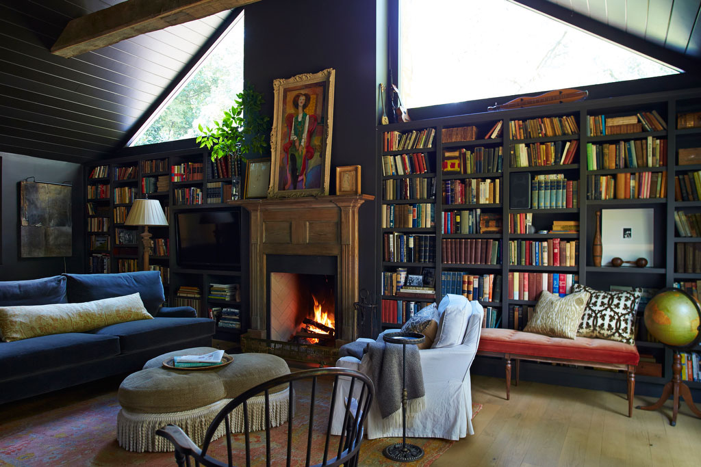 Dark Den with Colorful Books