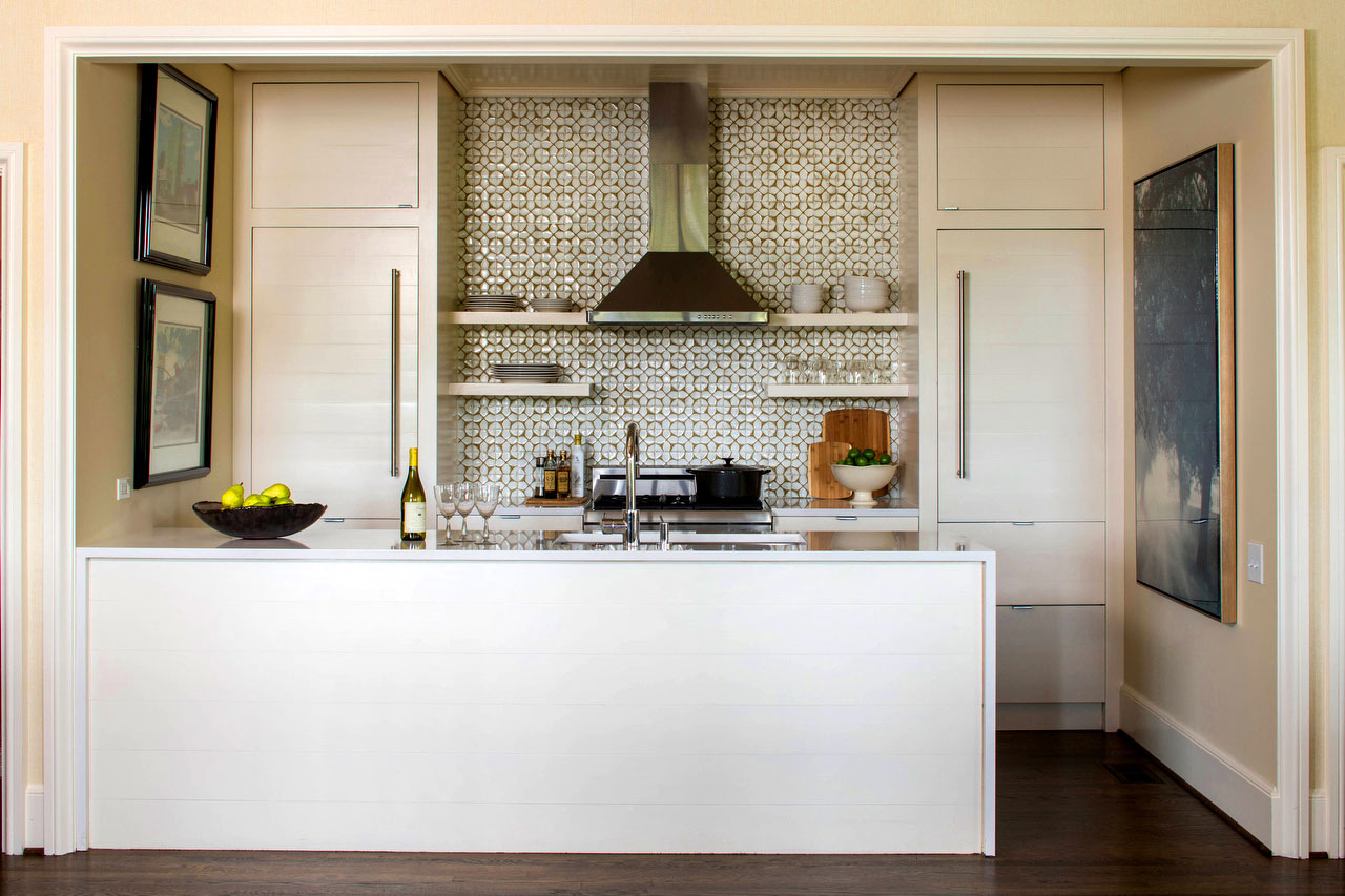 Small Symmetrical Kitchen with Tile Backsplash