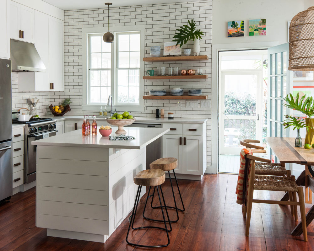 White Kitchen with Wall-to-Wall Tile