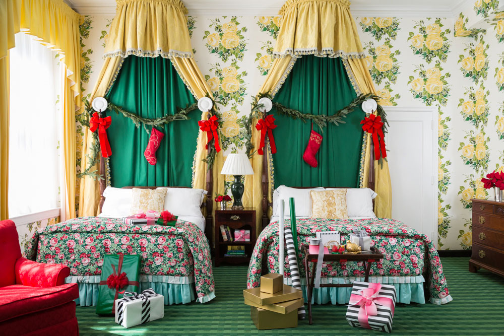 Hotel Room with Christmas Decorations