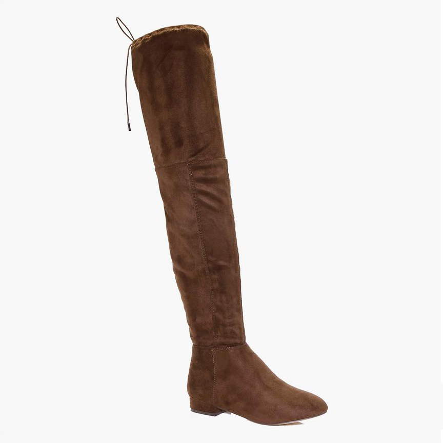 Boohoo Lucy Flat Tie-Back Over the Knee Boot