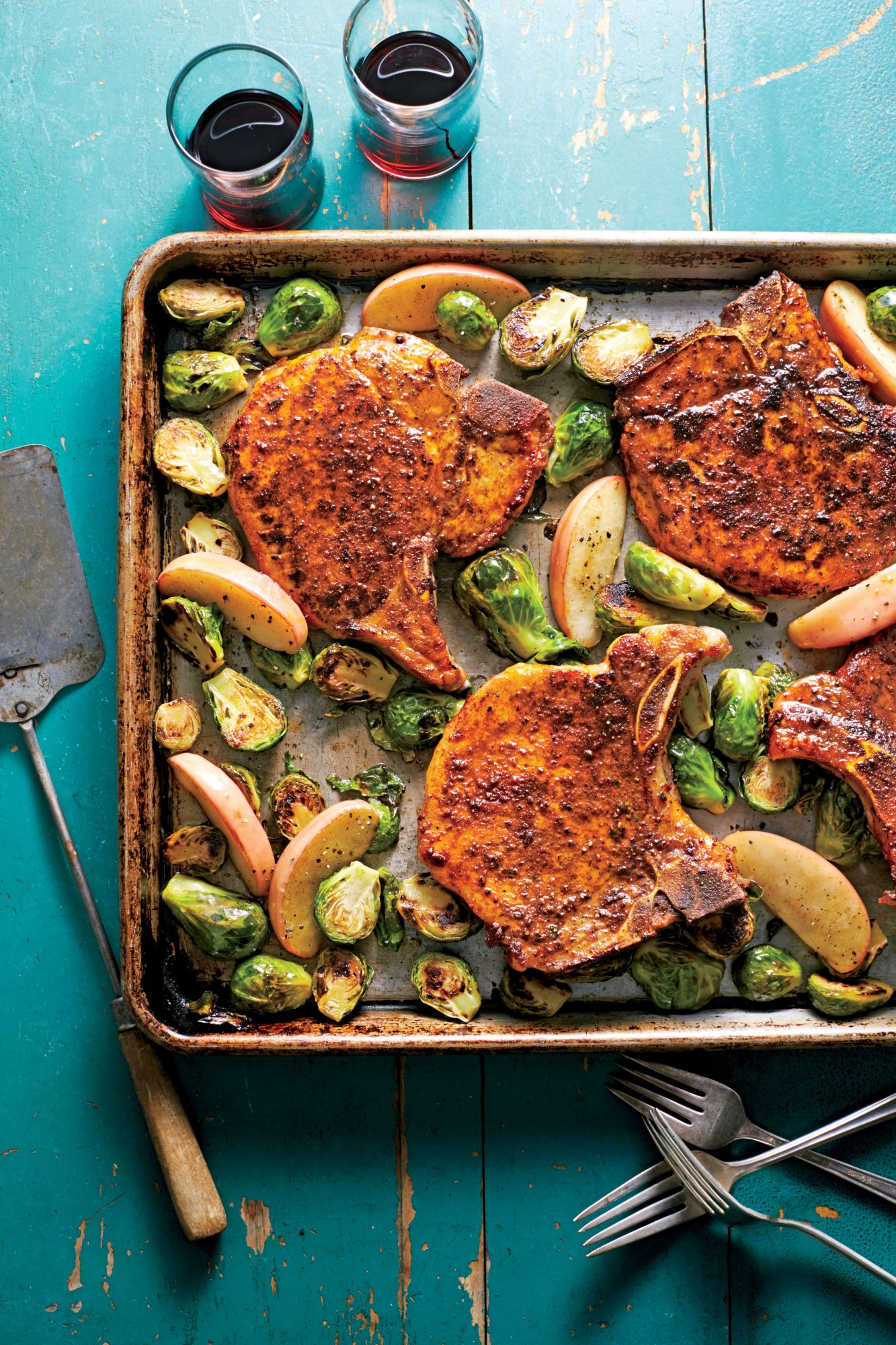 Pork Chops with Roasted Apples and Brussels Sprouts