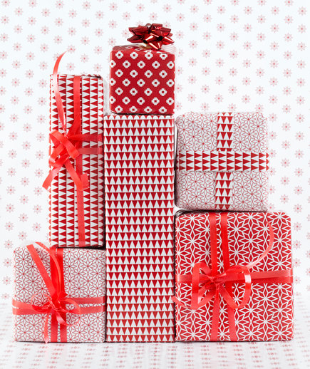 Red and White Wrapped Presents