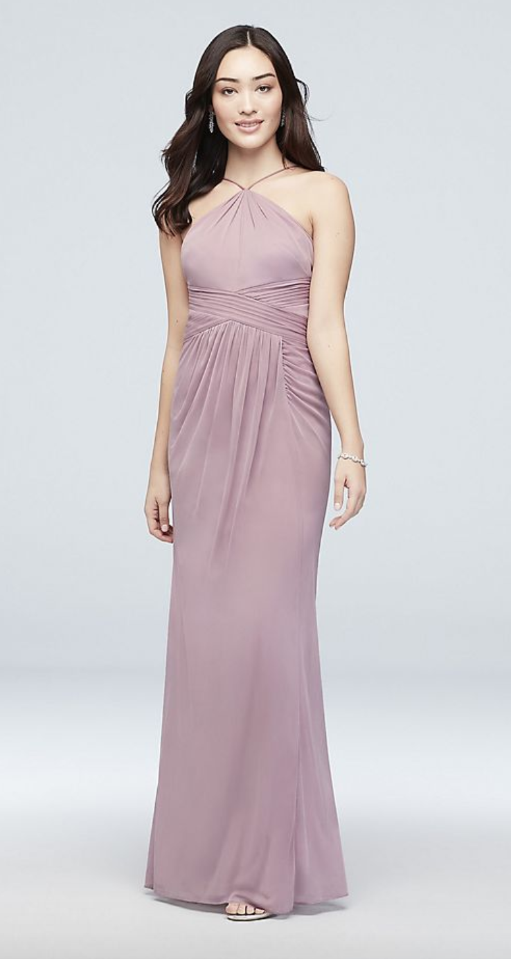 Reverie Y-Neck Mesh Bridesmaid Dress with Pleated Waist