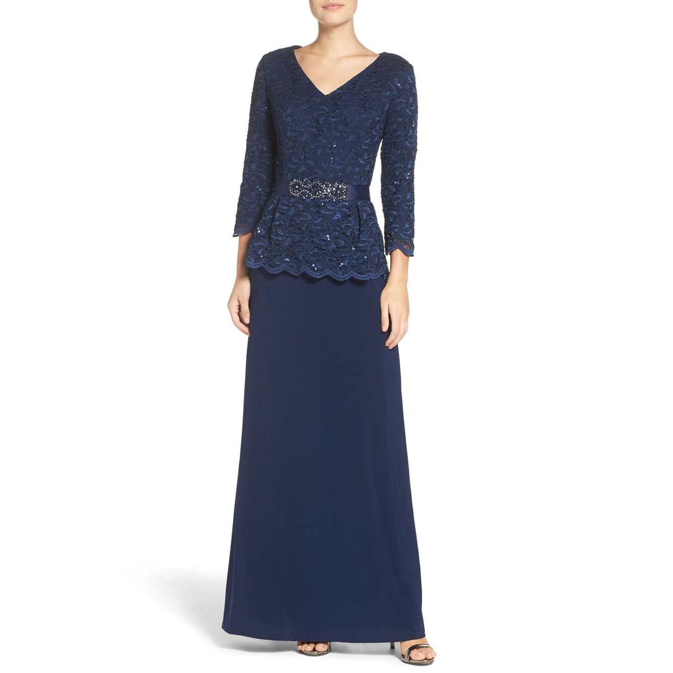 Alex Evenings Embellished Lace & Jersey Gown