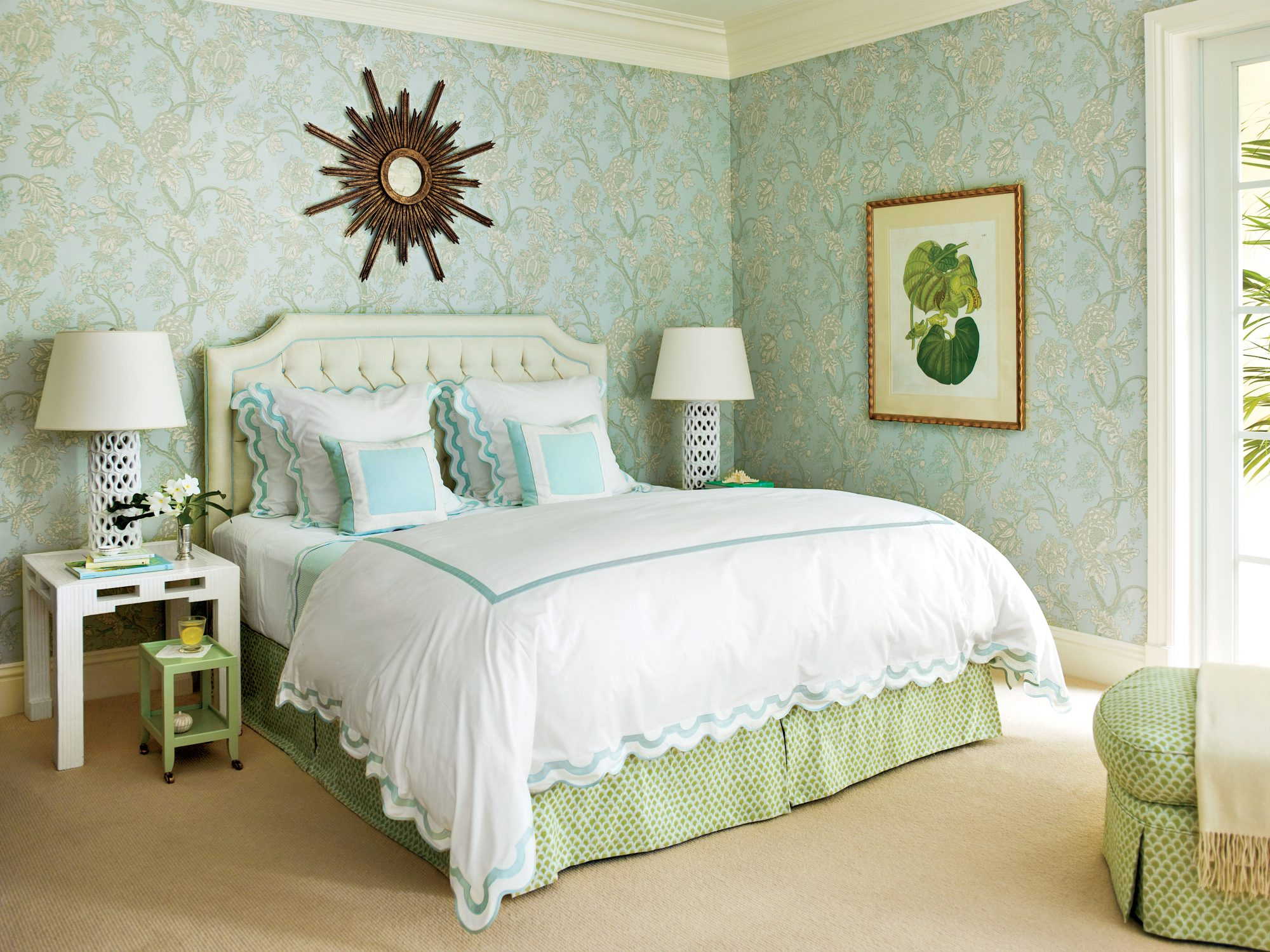 RX_1701_Cozy Bedroom_Blue Green Wallpaper Master Bedroom