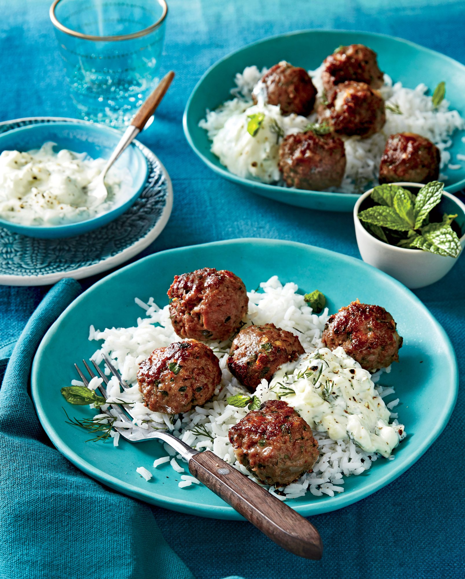 Greek Meatballs with Cucumber-Yogurt Sauce and Rice