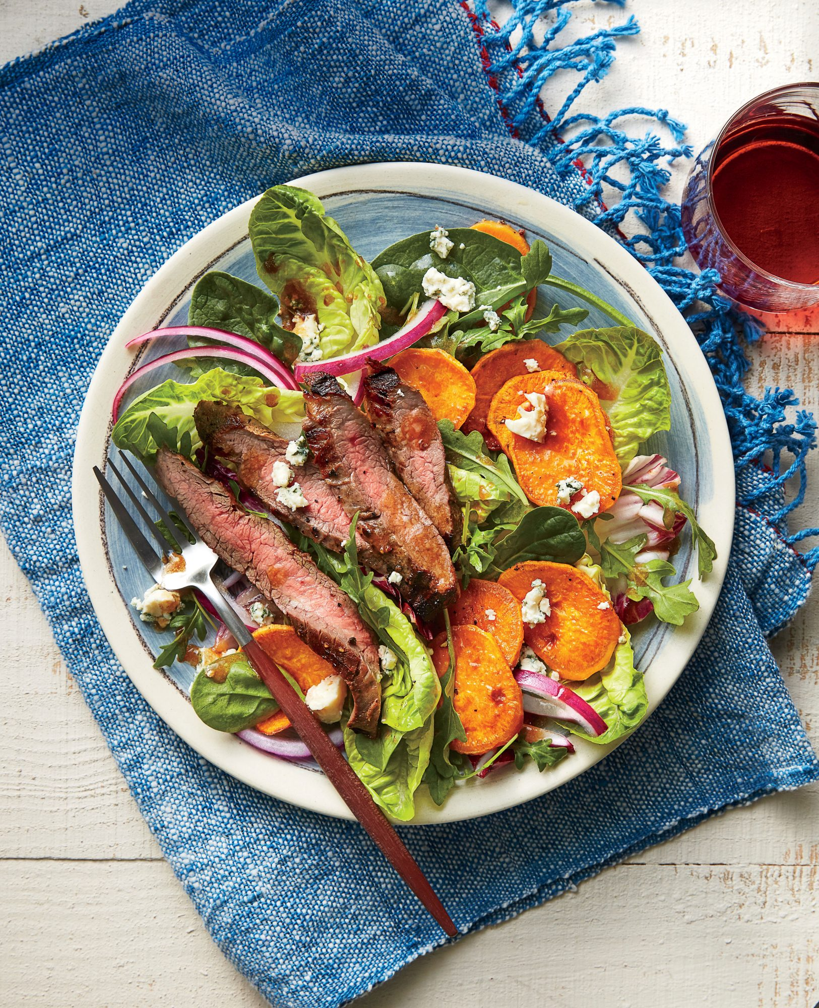 Steak, Sweet Potato, and Blue Cheese Salad