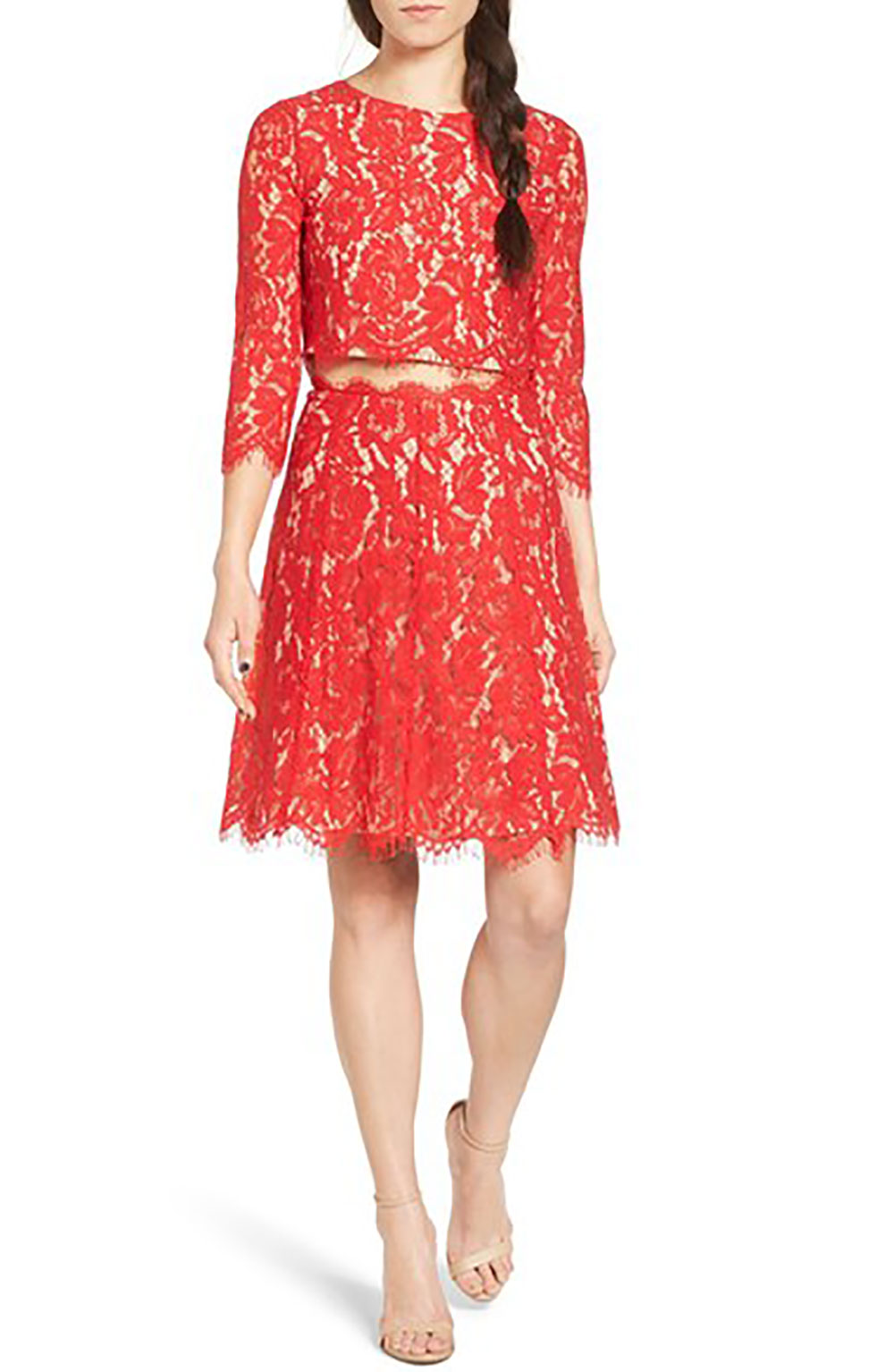 Red Lace Two Piece Dress