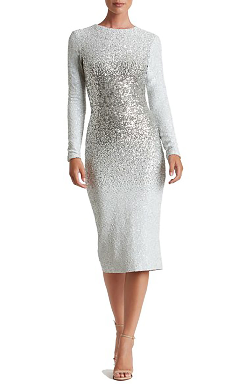 Sequin Silver Midi Dress