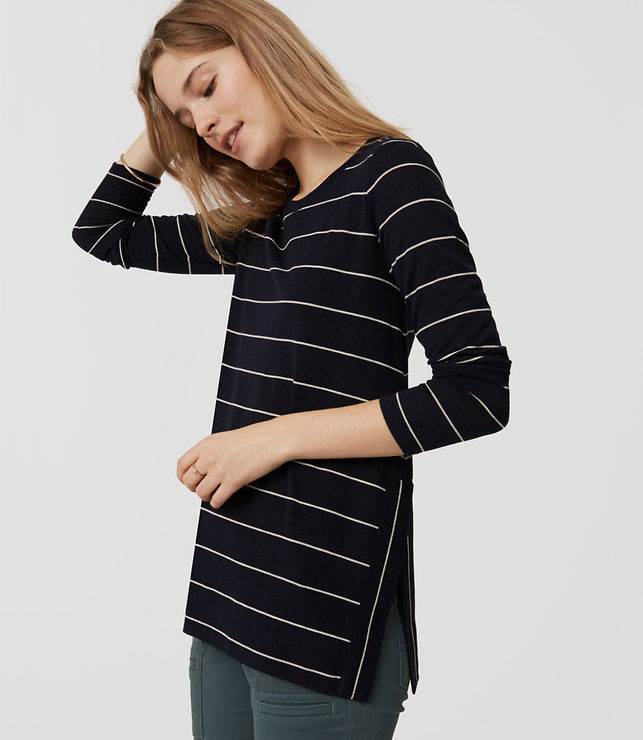 Loft Striped Split Swing Tee