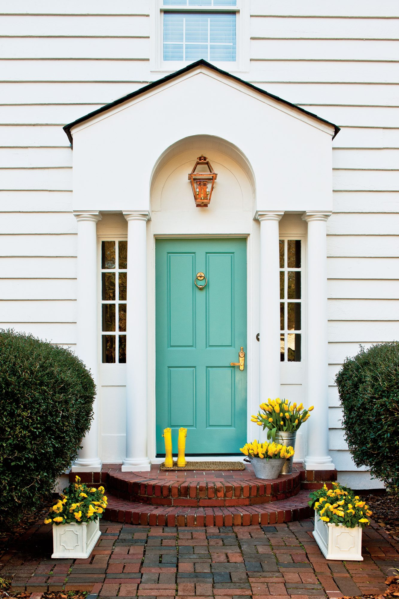 Teal Front Door Yellow Rainboots