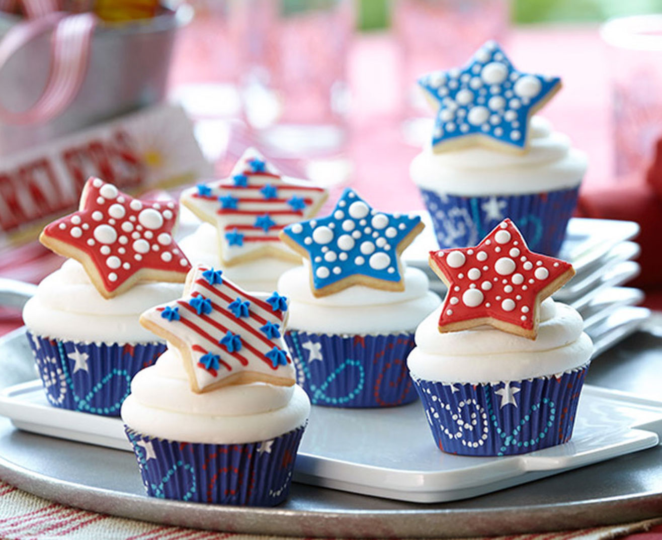 Patriotic Cupcake with Star Sugar Cookie