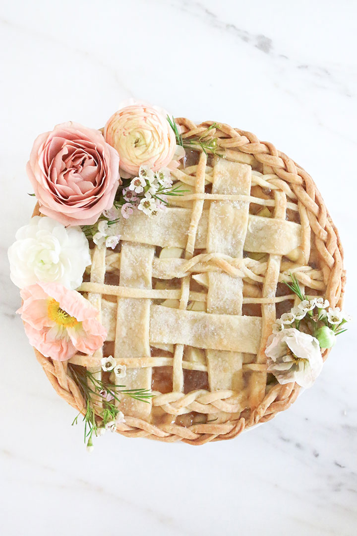 Formal Wedding Pie with Flowers and Lattice Detail