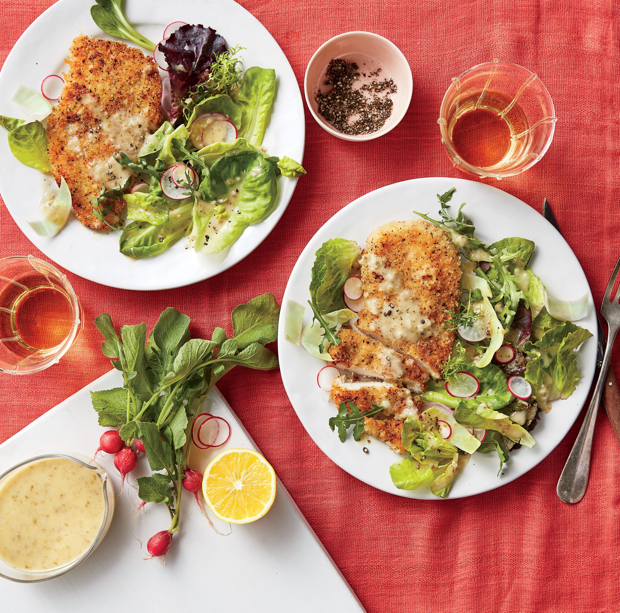 Oven-Fried Chicken with Spring Salad