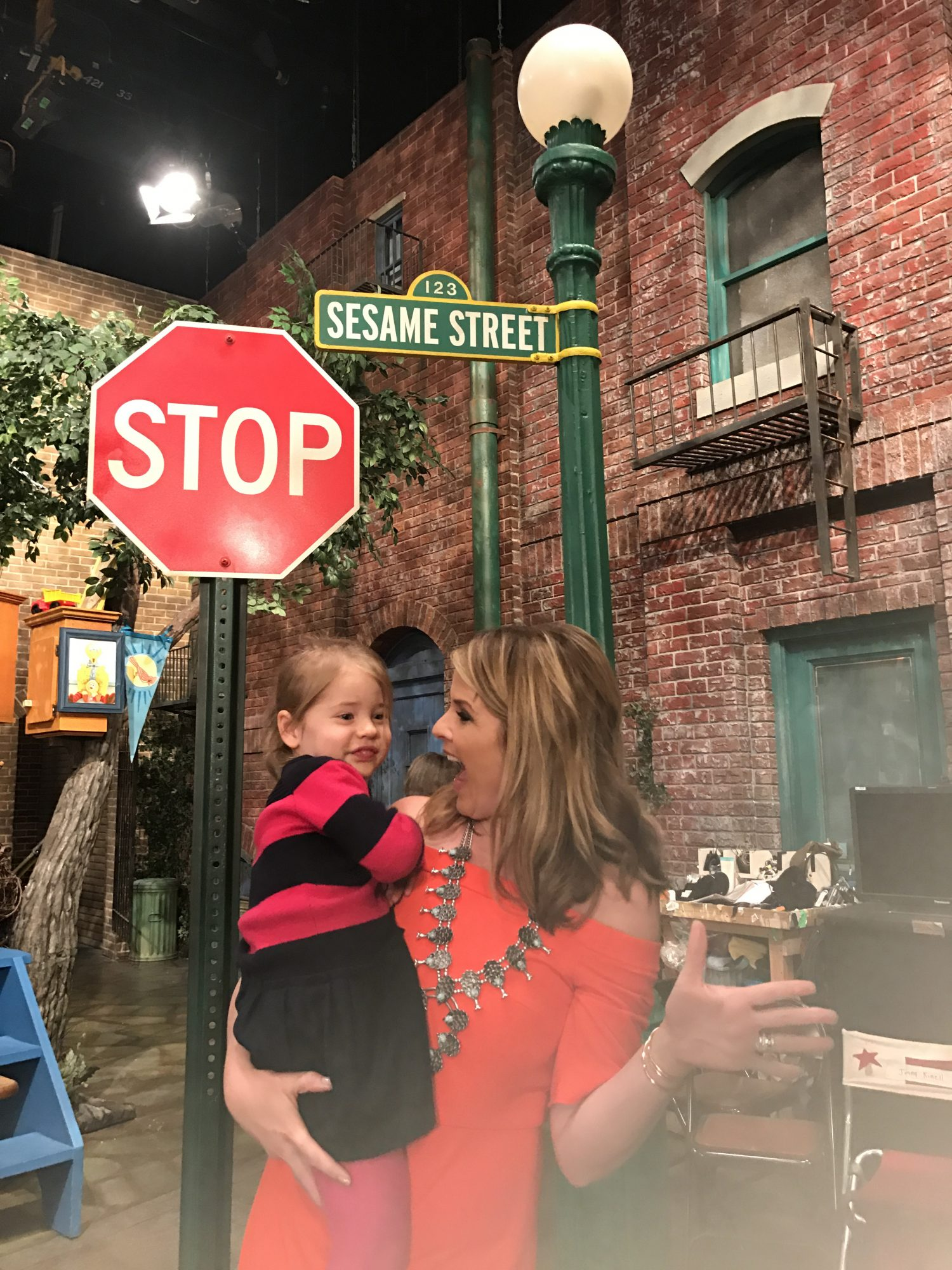 Jenna Bush and Daughter at Sesame Street