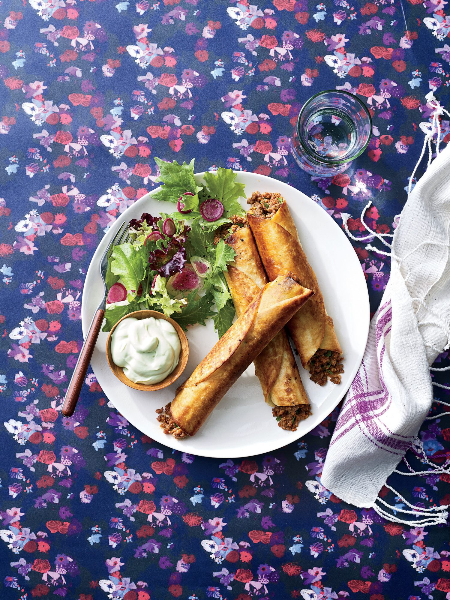 Beef Flautas with Buttermilk-Avocado Crema