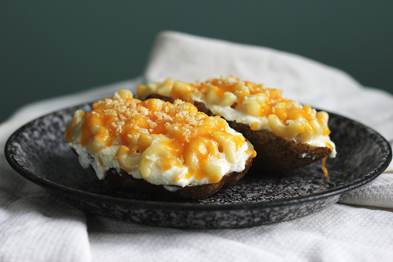 Macaroni and Cheese Topped Baked Potato