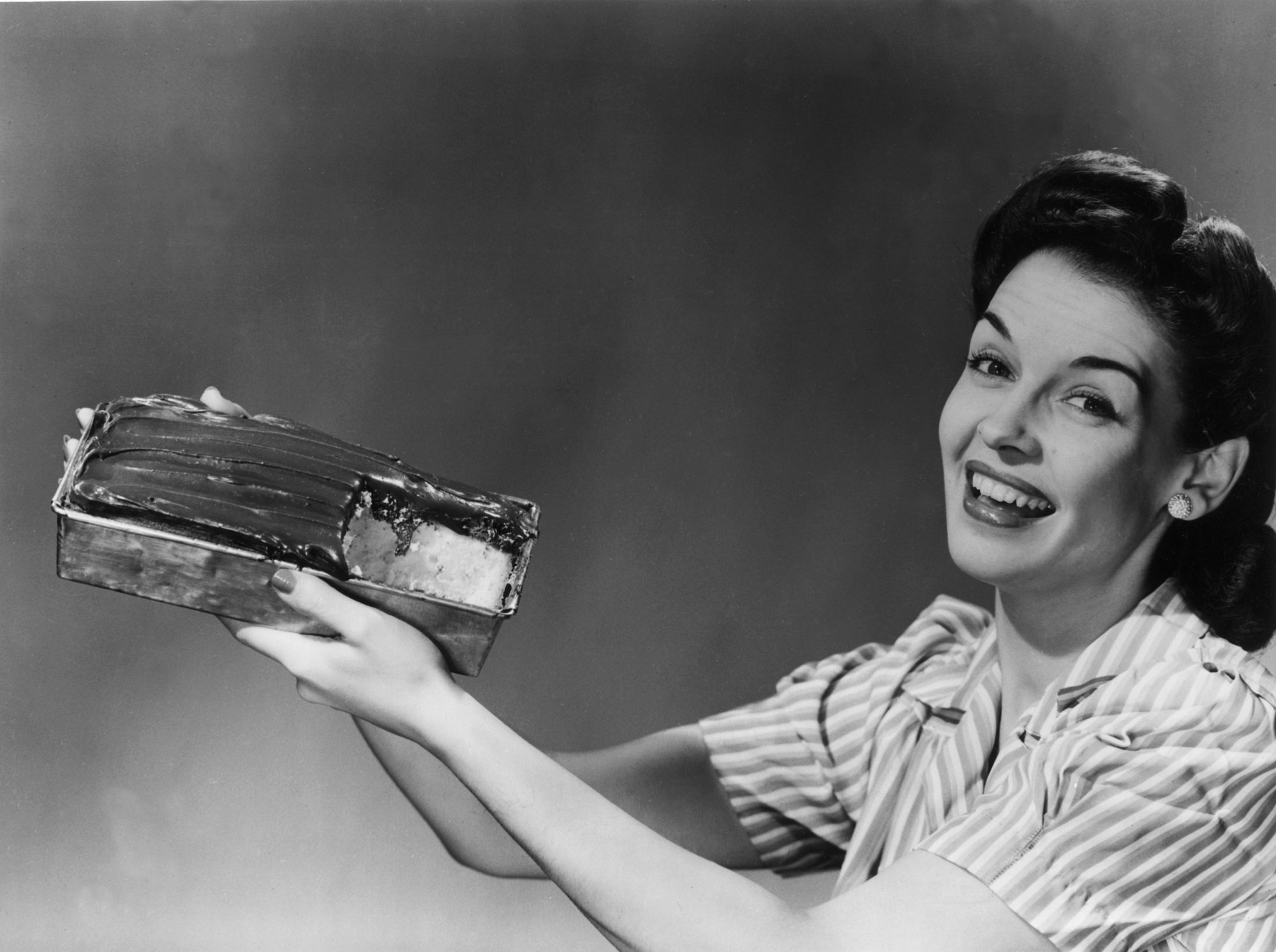 Vintage Woman with Cake