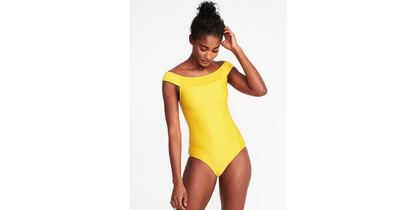 Textured Off-the-Shoulder Swimsuit in Sunshine Gardens