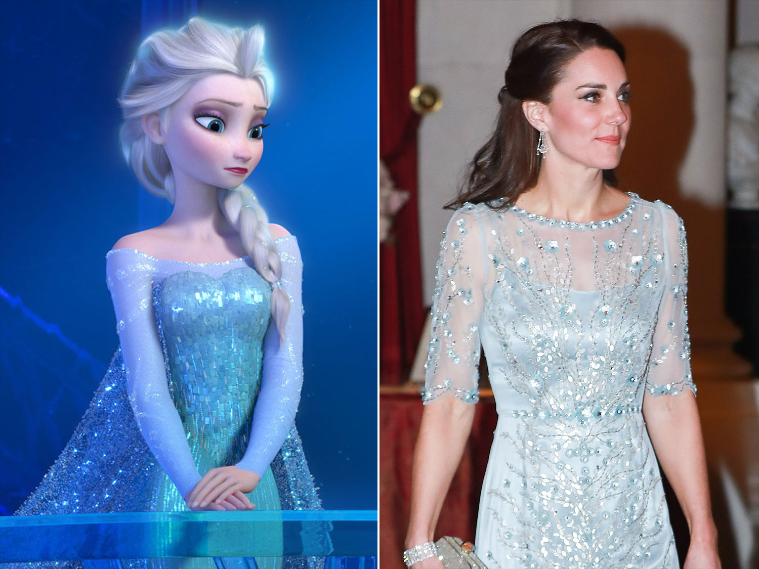 FROZEN, Elsa (voice: Idina Menzel), 2013. ©Walt Disney Pictures/courtesy Everett Collection                                                  PARIS, FRANCE - MARCH 17:  Catherine, Duchess of Cambridge attends a dinner at the British Embassy on March 17, 2017 in Paris, France. The Duke and Duchess are on a two day tour of France.  (Photo by Laurent Vu/SC Pool - Corbis/Corbis via Getty Images)