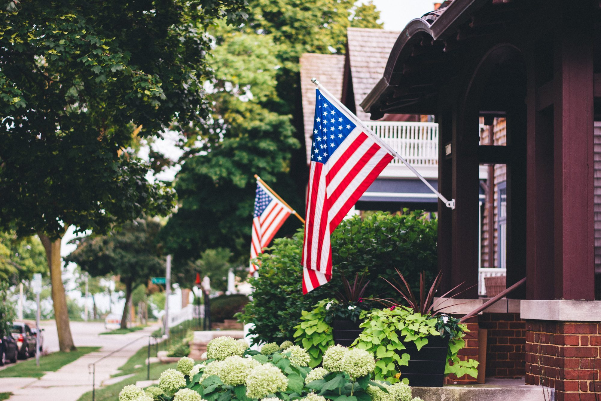 American Flags On Houses