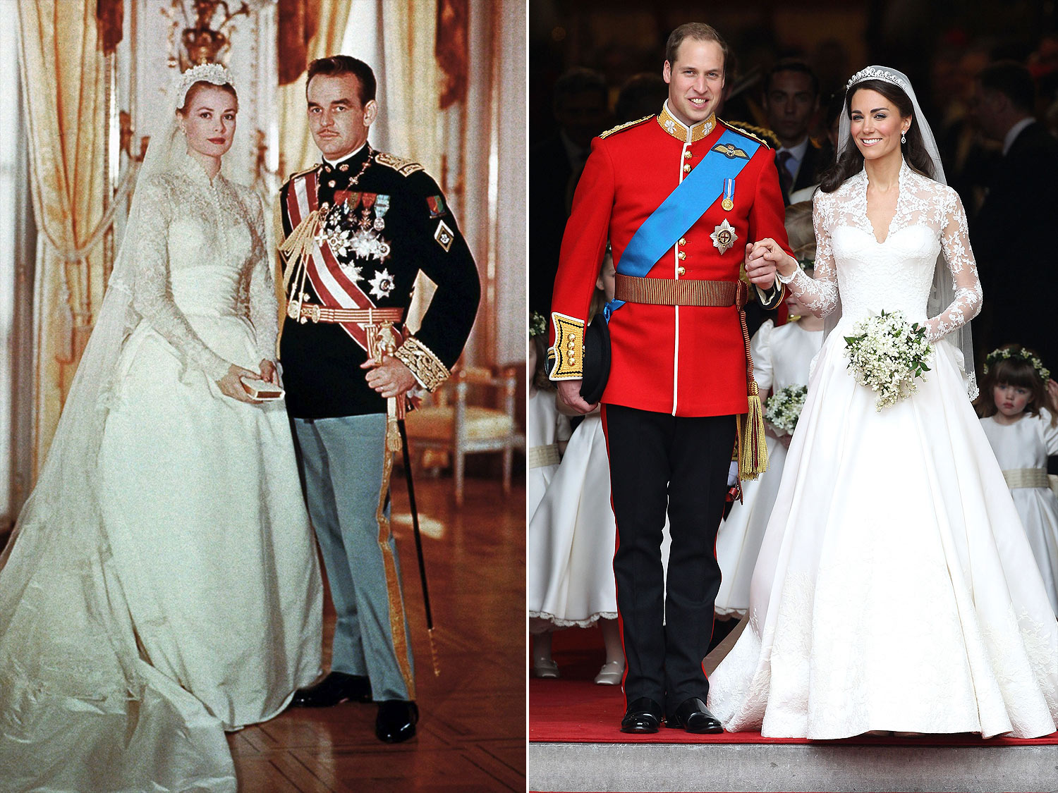 MONACO - APRIL 19: Portrait of Rainier III, Prince of Monaco to Princess Grace on their wedding day on April 19, 1956 in Monaco. (Photo by 3777/Gamma-Rapho via Getty Images)                                                  LONDON, ENGLAND - APRIL 29:  TRH Prince William, Duke of Cambridge and Catherine, Duchess of Cambridge smile following their marriage at Westminster Abbey on April 29, 2011 in London, England. The marriage of the second in line to the British throne was led by the Archbishop of Canterbury and was attended by 1900 guests, including foreign Royal family members and heads of state. Thousands of well-wishers from around the world have also flocked to London to witness the spectacle and pageantry of the Royal Wedding.  (Photo by Chris Jackson/Getty Images)