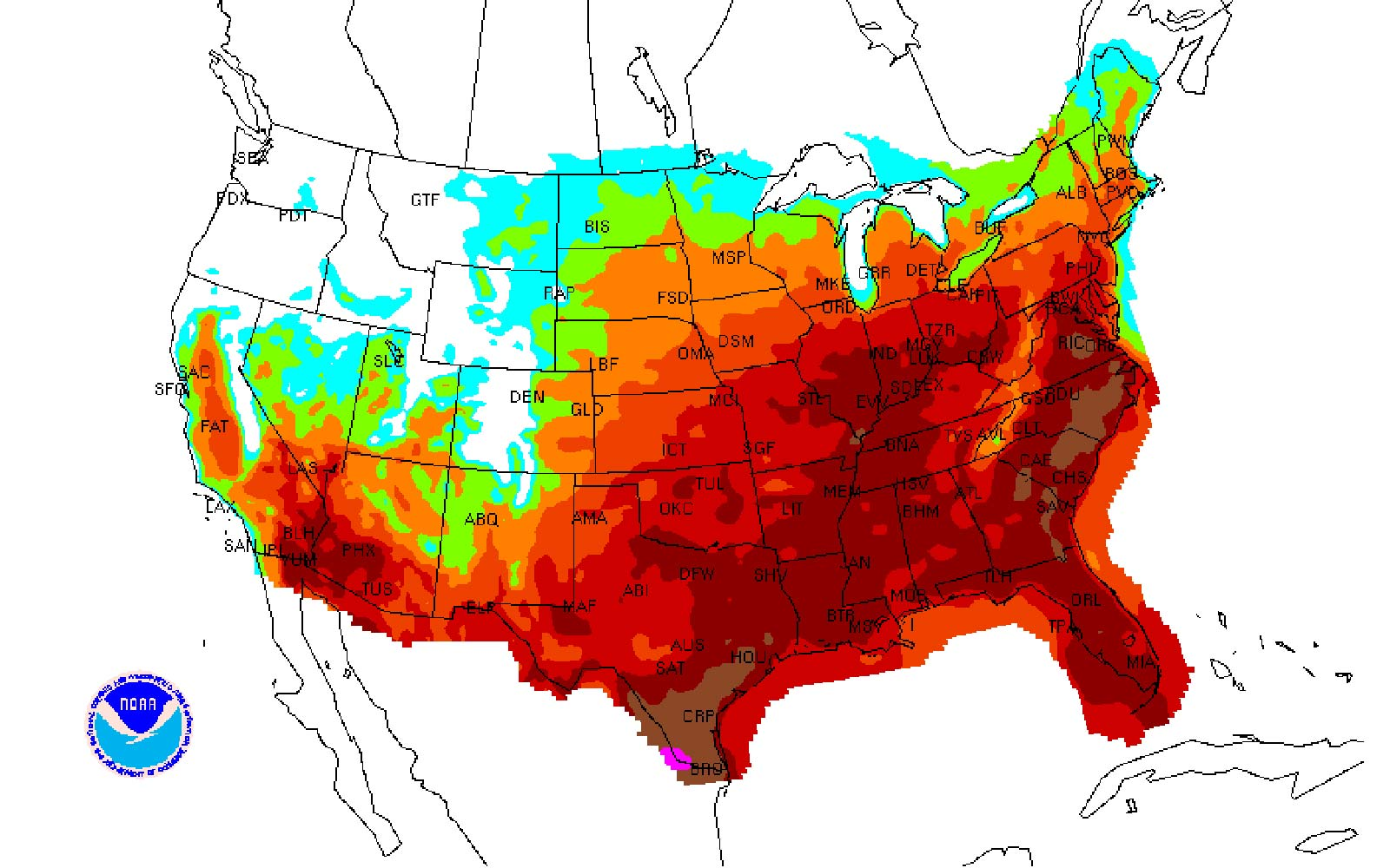 Heat Wave Map National Weather Service