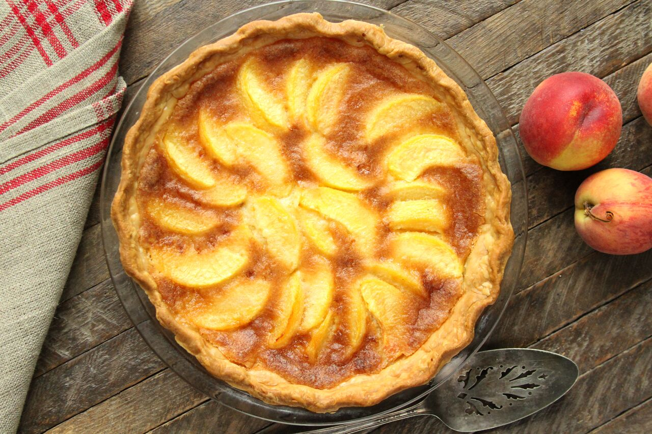 Peach Chess Pie Southern Bite Food Blogger
