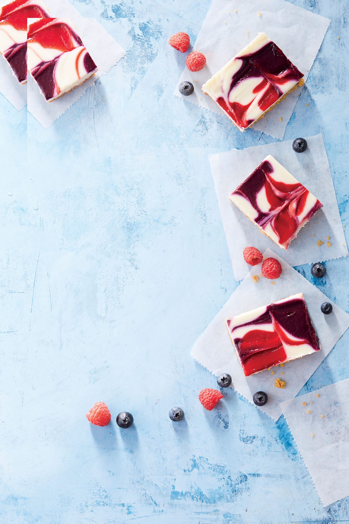 Red, White, and Blue Cheesecake Bars