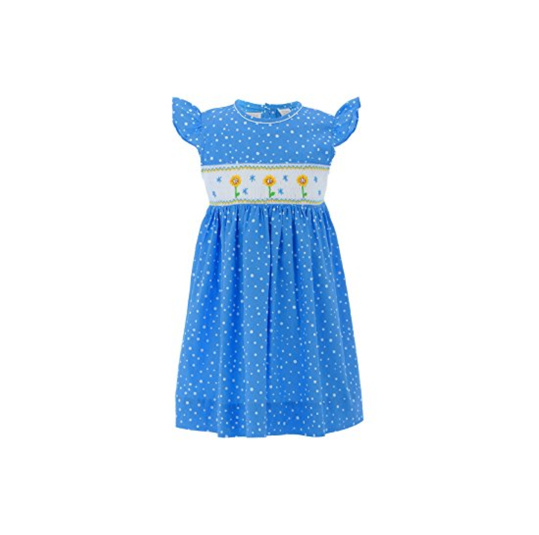 Girls' Hand-Smocked Dress Blue Sunflower